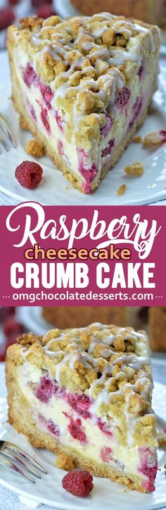 Raspberry Cheesecake Crumb Cake, Desserts, Raspberry Cheesecake Crumb Cake is combo or delicious raspberry cheesecake and crumb cake. Cheesecake filling is smooth and creamy and simply bursting. No Bake Desserts, Easy Desserts, Dessert Recipes, Baking Desserts, Cake Baking, Raspberry Cheesecake, Cheesecake Recipes, Oreo Cheesecake, Raspberry Frosting
