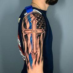 101 Amazing Thin Blue Line Tattoo Ideas That Will Blow Your Mind! Aztec Tribal Tattoos, Tribal Shoulder Tattoos, Mens Shoulder Tattoo, Shoulder Tats, Cool Forearm Tattoos, Arm Band Tattoo, Wrist Tattoos, Thin Blue Line Flag, Thin Blue Lines