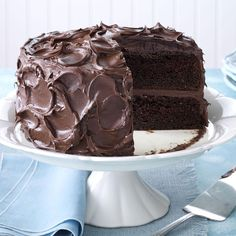 Come-Home-to-Mama Chocolate Cake Recipe -You'll spend less than a half hour whipping up this cure-all cake that starts with a mix. Sour cream and chocolate pudding make it rich and moist, and chocolate, chocolate and more chocolate make it decadent comfort food at its finest. —Taste of Home Test Kitchen