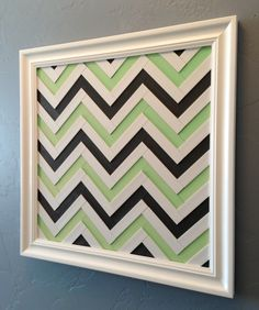 Chevron Art - Mint Green & Gray Chevron Wall Decor - Handmade Wood Wall Artwork - White, Mint Green, Charcoal Colored Chevron Stripe Pattern. $299.00, via Etsy.