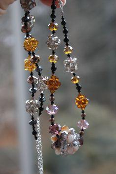 Long Mocha Swarovski Crystal Beadwork Necklace - Free shipping. $58.00, via Etsy.