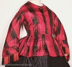 Red!  c. 1850s maternity red:black silk by pseitas, via Flickr