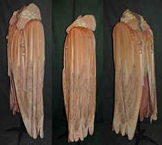 1920s Peach Beaded Velvet Capes with Tassels by RememberMeClothing