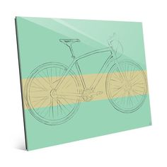 "Click Wall Art 'Bike Sketch on Aqua Blue' Graphic Art on Plaque Size: 20"" H x 24"" W x 1"" D"