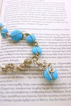 Mycenaean turquoise necklace  handmade   alpaca wire by RenatasArt, €27.00