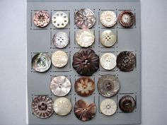 21 VINTAGE SHELL BUTTONS / FLORAL SHAPES & DESIGNS