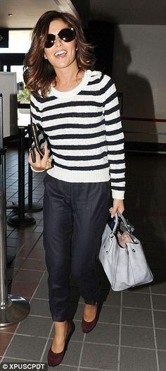 Cheryl Cole + Striped Sweater