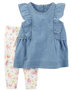 Baby Girl 2-Piece Chambray Tank & Legging Set | Carters.com