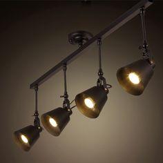 wholesale industrial retro loft track light creative loft ceiling light for cafe bar E27 LED track spotlight(China (Mainland))