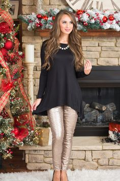 Gold Sequin Leggings - The Pink Lily Boutique