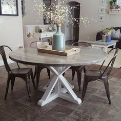 Image result for gray round farmhouse dining table