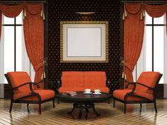 Part of the modern interior in orange colour
