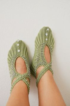 Green silver beaded  knit slippers authentic regional by NesrinArt,