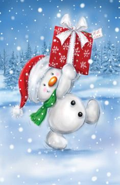 Cute snowman marching with big present, Christmas greeting card. Personalize any greeting card for no additional cost! Cards are shipped the Next Business Day. Christmas Canvas, Christmas Paintings, Christmas Snowman, Christmas Crafts, Christmas Decorations, Christmas Ornaments, Christmas Clipart, Christmas Greeting Cards, Christmas Printables