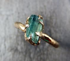 Raw Sea Green Tourmaline Gold Ring Rough Uncut Gemstone tourmaline recycled engagement promise stacking cocktail statement byAngeline