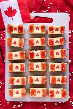 Canada day: Happy early Canada Day to our Canadian friends out there. Make sure to celebrate with these patriotic cheesecake bars - Hubub Canada Day Flag, Canada Day Party, Canada Eh, Cheesecake Bars, Cheesecake Recipes, Canada Day Fireworks, Yummy Treats, Sweet Treats, Canadian Food