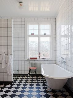 damier noir et blanc- Black and white bathroom