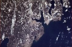 """Astronaut Chris Hadfield is Pinning from SPACE! This is the coolest thing I've seen today - Sydney, Nova Scotia from way up in space. Can we see Leitches Creek? Hadfield Says: """"Sydney, Nova Scotia, on a clear winter's day - 9 Jan Chris Hadfield, Clear Winter, Space Photos, Winter Day, Nova Scotia, Planet Earth, Outer Space, Scenery, Sky"""
