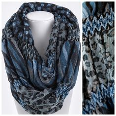 "B11 Textured Ruffle Puffy Teal Blue Infinity Scarf Textured Infinity Scarf ‼️ PRICE FIRM UNLESS BUNDLED WITH OTHER ITEMS FROM MY CLOSET ‼️  Textured pucker fabric with animal print pattern.  Blues, beige & black.  100% polyester.   Please check my closet for many more items including jewelry, shoes, handbags designer clothing & more!   Length 29""  Width 11""  Lots of stretch to this fabric!  Soft and wonderful! Boutique Accessories Scarves & Wraps"
