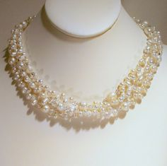 Freshwater and Crystal Elegance 3 Strand Necklace by tbyrddesigns, $59.00