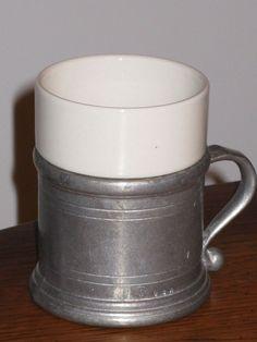 WILTON ARMETALE RWP PLOUGH PEWTER TAVERN COFFEE TEA CUP MUG WITH CERAMIC INSERT