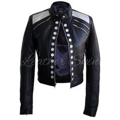 Leather Skin Women Black Leather Jacket with Diamond White Buttons Leather Skin, Black Leather, Black Women Fashion, Womens Fashion, Studded Leather Jacket, Black Parade, Ladies Party, Contemporary Fashion, Leather Fashion