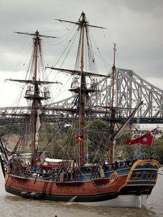 Tall ship and bridge