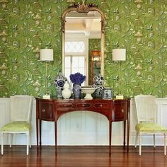 Lamp Shades – Everything You Always Wanted To Know - Dining room and photo by Laurel Bern - wallpaper, Thibaut