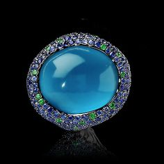 Mousson Atelier, collection New Age - Moss, ring, Black gold 750, London topaz 43,41 ct., Multicolored sapphires, Tsavorites
