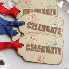 4th of July Tags Celebrate Favor Tags - Set of 4. $4.25, via Etsy.