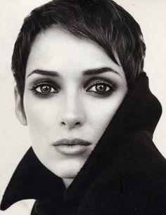 I love the hair and makeup. Whatever about the person. (Winona Ryder photographed by Brigitte Lacombe)