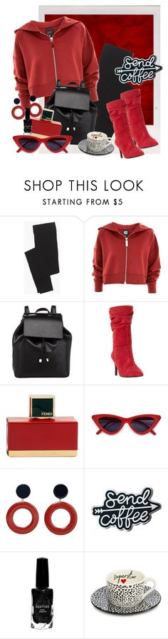 """""""Red coffee addict"""" by rmarie2001 ❤ liked on Polyvore featuring Madewell, Ivy Park, Barneys New York, Dune, Fendi, MANGO, Azature and Ben de Lisi"""