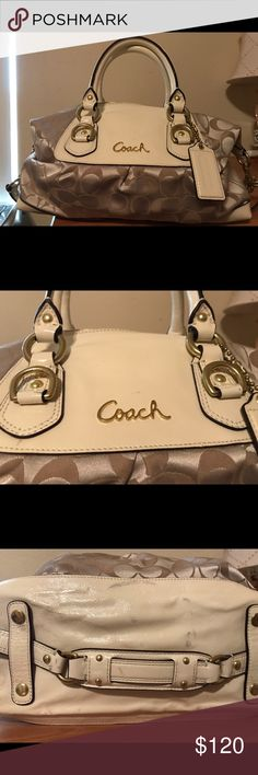 Brand new, never used Coach Purse Brand new with tags, never used. Beautiful Ashely Signature Satin Satchel Coach Purse. Color is light khaki and ivory. There is some slight scuffing on the bottom (see photo) it must have been this way when I purchased it. Price tag says $298. Coach Bags Satchels