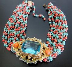 Vintage Alice Caviness Aqua Blue Glass Rhinestone Gold Tone Salmon Bead Necklace