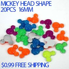 20pcs 16mm mickey head shape flatback Resin rhinestone resin beads mixed colors great for scrap booking diy Free shipping