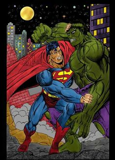 the hulk fights superman in color ! Comic Art