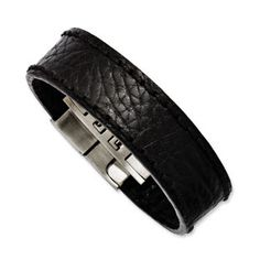 Men S Stainless Steel Black Textured Leather Bracelet Jewelry Available Exclusively At Gemologica Mens