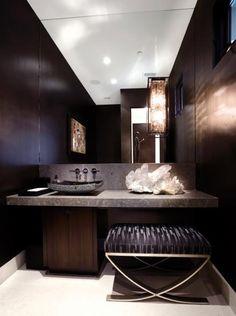 Dark and luxurious bathroom. Natural stone + wood.