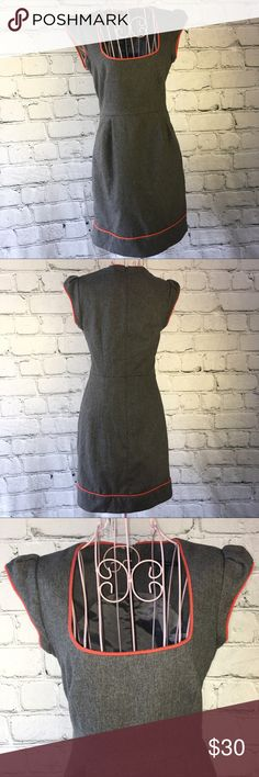 French Connection Dress Gray Orange Sheath Sz 2 French Connection Dress Gray Orange Trim Sheath Dress Size 2. Measurements available upon request. French Connection Dresses