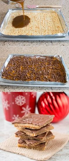 Christmas Crack (aka saltine cracker toffee) - Candy - Ideas of Candy - This toffee candy is chocolatey crispy and highly addictive! Hence the name and its made with only 4 ingredients. Holiday Desserts, Holiday Baking, Just Desserts, Holiday Recipes, Delicious Desserts, Yummy Food, Christmas Recipes, Easter Desserts, Apple Desserts