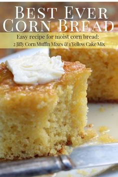 bread recipes A super moist and delicious corn bread recipe that is made with 2 Jiffy Corn Muffin Mixes and 1 Yellow Cake Mix. This is the EASY cornbread recipe you have been looking for. It is foolproof and will always turn out! Cake Mix Recipes, Baking Recipes, Easy Recipes, Cheap Recipes, Peanut Butter Cake Recipe Using Cake Mix, Potato Recipes, Jiffy Mix Recipes, Lima Bean Recipes, Bisquick Recipes