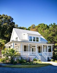 Cottage Exterior of Home with Paint 1, Wrap around porch, French doors, Pathway, Transom window, Metal roof, Deck Railing