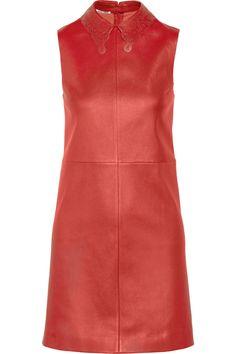 Cutout-collar stretch-leather dress