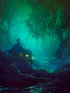 house, woods, night