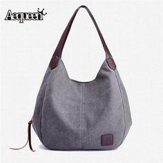 6518a2411db2 AEQUEEN Canvas Bag Women Solid Handbags Hobos Single Shoulder Bags Vintage  Ladies Totes Casual Large Bag