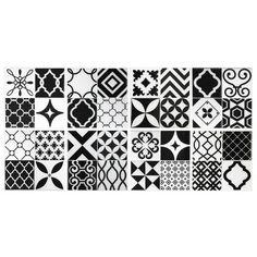 Patchwork carrelage vintage noir et blanc   Carrelage mural adhésif par Smart…