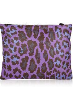 Christopher Kane|Leopard-print leather clutch|NET-A-PORTER.COM