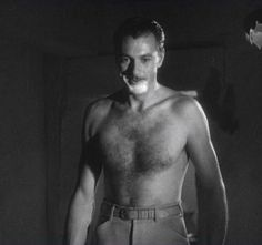 Gary Cooper — mid-shave.