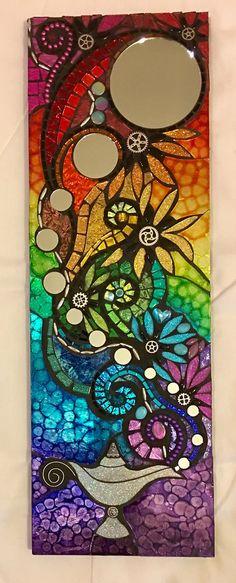 RESERVIERT für JEANNE Mosaik Spiegel Genie Lampe