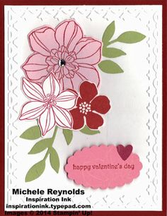 Handmade Valentine made by Pat Harrison.  Uses Stampin' Up! products - Secret Garden Set, Teeny Tiny Wishes Set, Scallop Oval Punch, Framed Tulips Embossing Folder, Secret Garden Framelits, and Little Leaves Sizzlits.